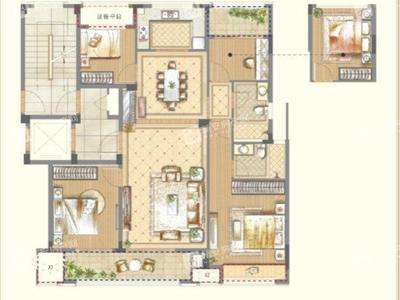 华夏大平层 4室2厅2卫 138平米 南北通透 重点无税 飞机户型